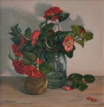 Camellias, a still life painting in oils by Annabelle Valentine