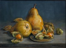 Pears, a still life painting in oils by Annabelle Valentine