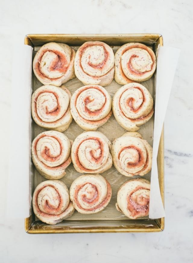 Strawberry Poppyseed Swirl Buns