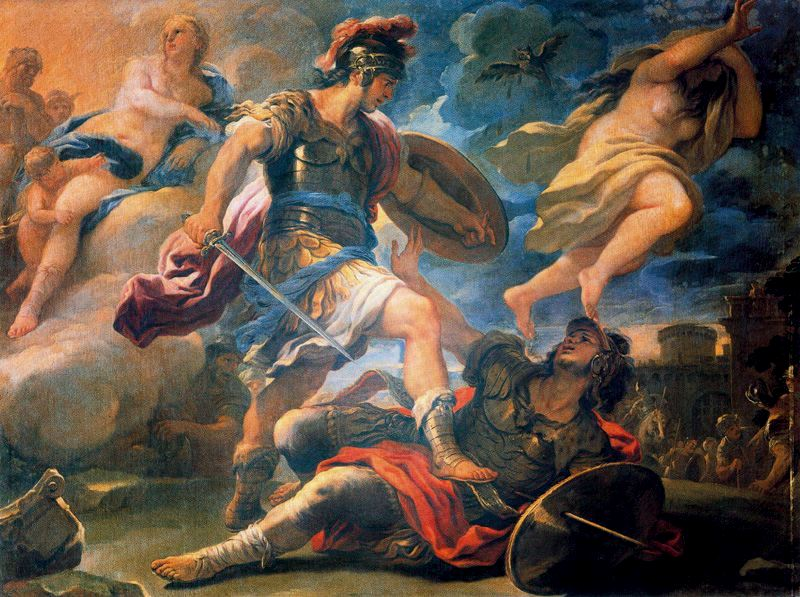 Giordano's painting of Aeneas deciding to stick it to Turnus