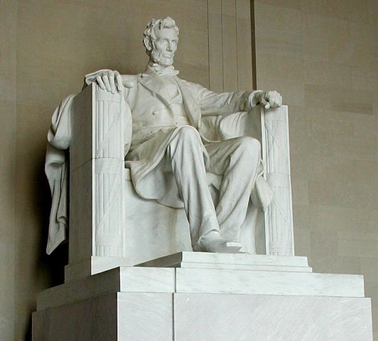 Abe seated in his memorial, sculpted by Daniel Chester French
