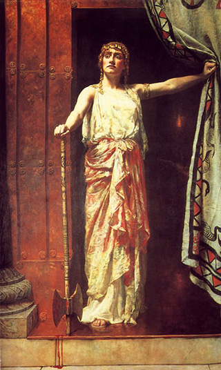 """""""Yes son, I am getting a taste for this..."""" (Clytemnestra after the fact, by John Collier, 1882)"""