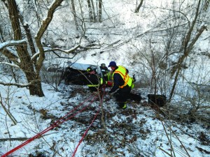 Last week, the Monee Fire Department was called for an accident with injuries. Crews located a car in a ravine on Governors Highway south of Pauling road. Monee crews used a rope rescue hauling system and stokes basket to remove the driver from the ravine, who only had minor injuries. The car was about 20 feet below grade.