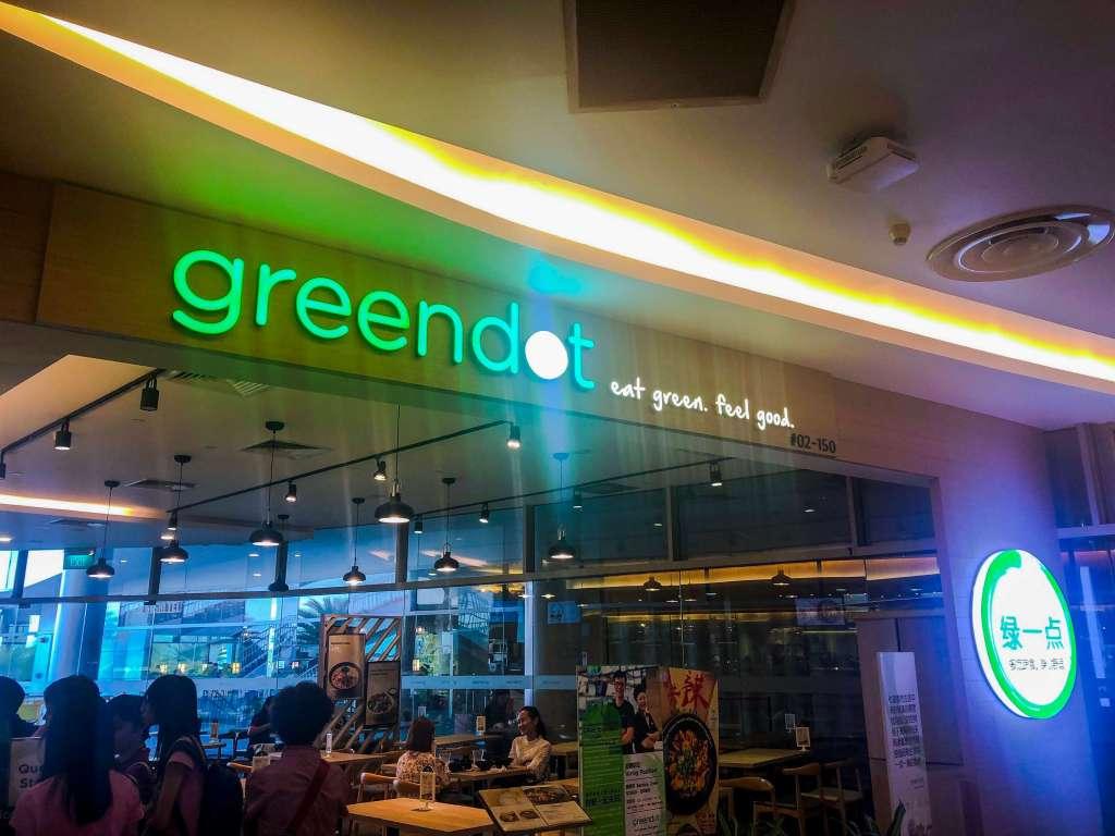 Front of GreenDot restaurant   Vegan in Singapore