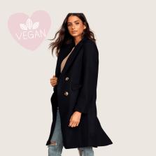 Cherished Classic Black Double Breasted Vegan Wool Coat