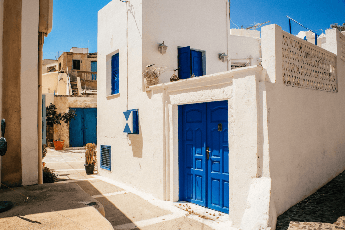 Blue and white building in Santorini