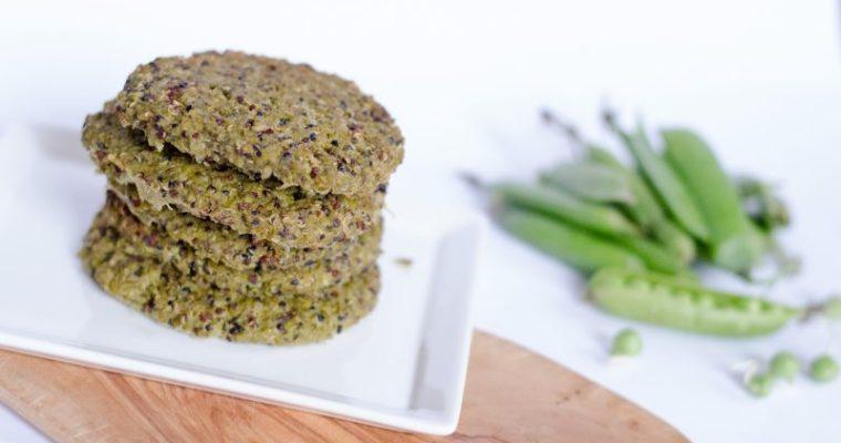 Burger proteici di quinoa e piselli
