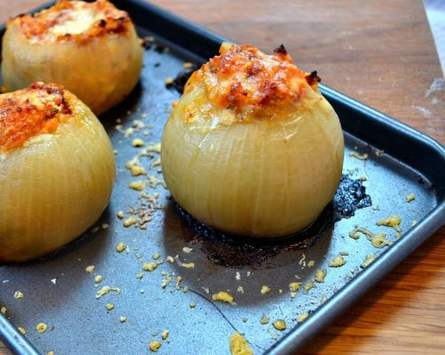 Baked Onions with Hazelnut, Sultana and Feta Stuffing