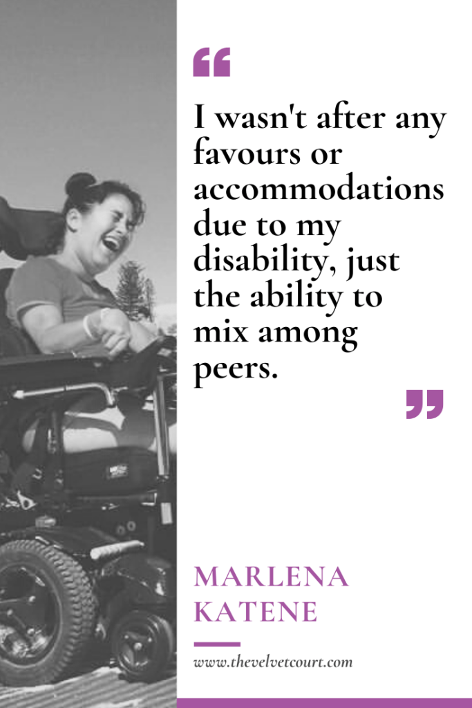 Marlena Katene, who has Cerebral Palsy, is a well-known disability advocate. When she's not advocating, she's writing books and interviewing celebrities.