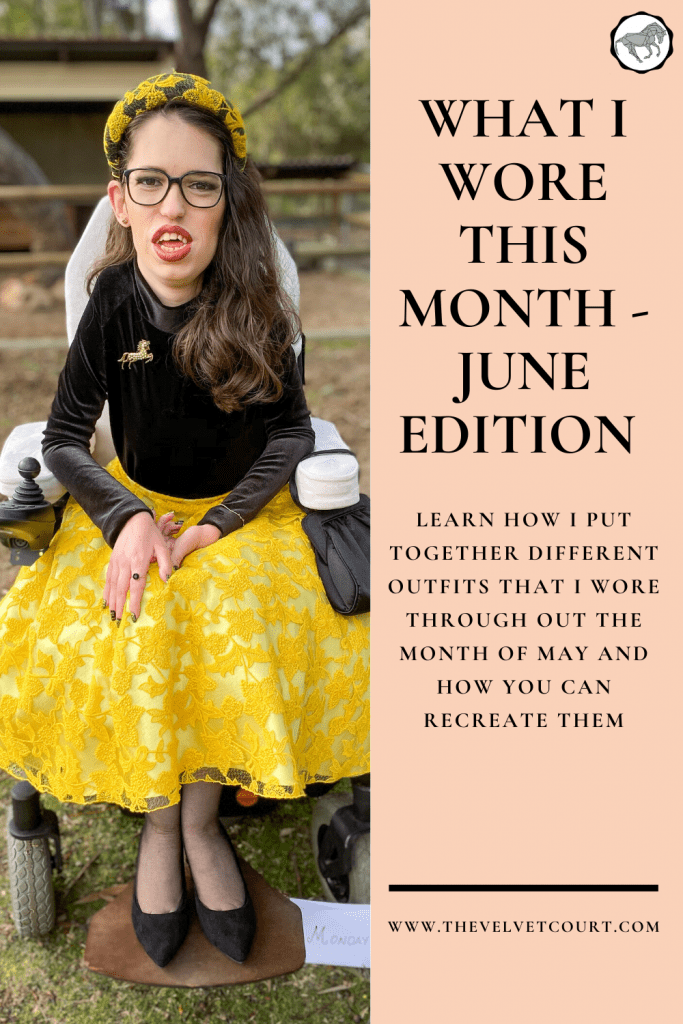 """I share with you my Fashions Off The Field outfit featuring a yellow lace skirt, in the June edition of """"What I Wore This Month""""!"""