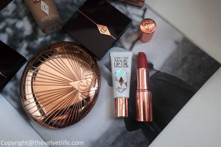 Review of new Charlotte Tilbury Airbrush Bronzer, Magic Lip Oil Crystal Elixir, Queen of Glow, Sexy Sienna, Magic foundation, Magic Away Concealer