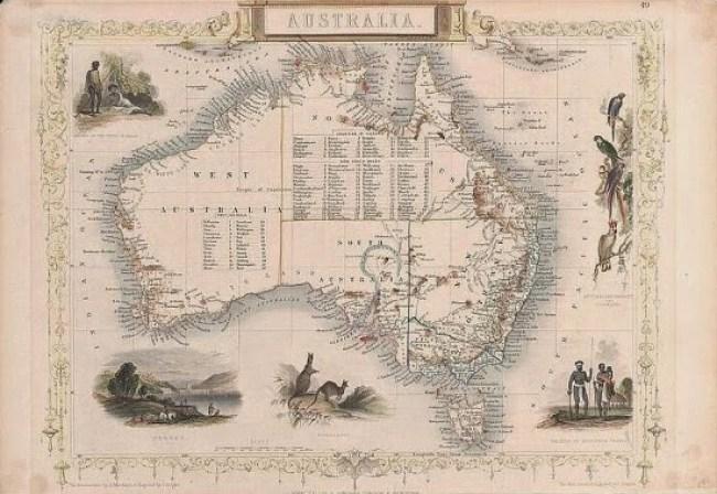 Australia Map 1851 - Rapkin, Marchant, Allen