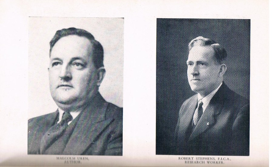 Malcolm Uren (Author) and Albany's Robert Stephens (Research Assistant). The two co produced Waterless Horizons. Stephens (1886-1974) was a distinguished local historian. His work is still available to researchers in the Albany History Collection at Albany Library.