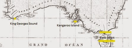 King Georges Sound represents the western extremity of the Southern Australian littoral, Bass Strait the Eastern extremity. The map is cut from Louis de Freycinet's first ever published Map of Australia, 1811