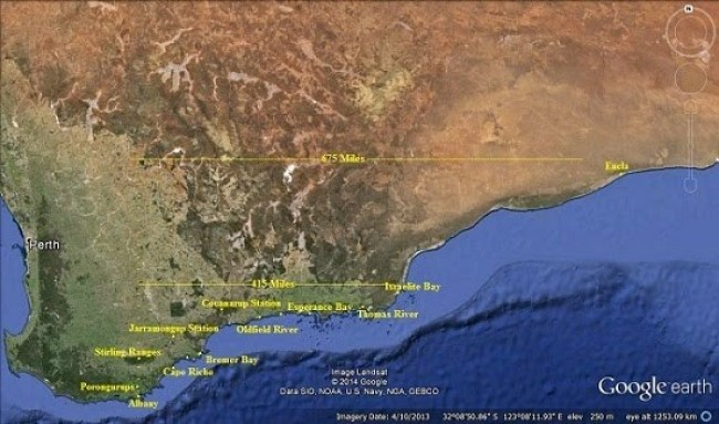 South Coast Distances - Goog Earth