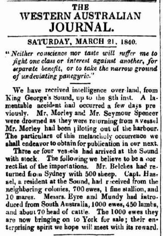 Hassell-Belches-Eyre - Livestock at Albany - Mar 1840
