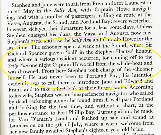 Henty- Stephen - Sally Ann at Albany May 1836