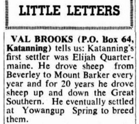 Elijah Beverly Mnt Barker droves 1840 - legend