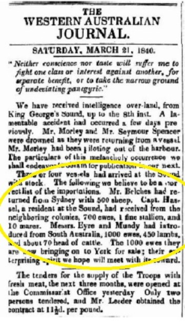 Eyre, Hassell, Belches Stock - June 1840