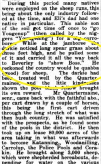Yowangup legend - Grt Sthn Herald 2.9.1936 Obit of Eli Qrtrmne