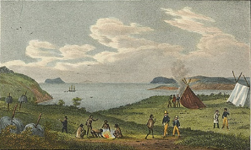 De Sainson print of Sealers at KGS inside PR harbour -Oct 1826
