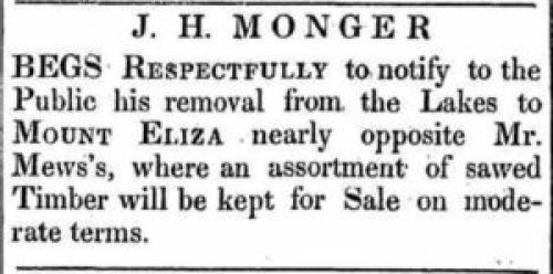 JH Monger removes from Mongers Lake to Mnt Eliza