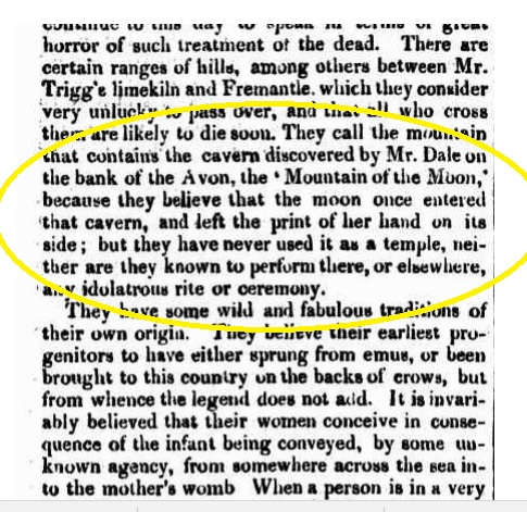 Armstrong - Natives account of Dales York cavern. Mountain of the Moon PGWAJ 29.10.1836