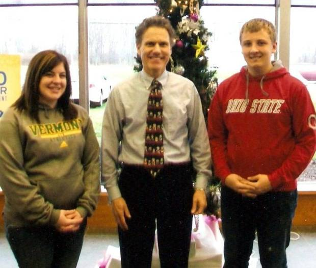 SCHOLARSHIP RECIPIENTS … 2012 Edon FFA graduates Gabby Siebenaler and Payton Muehlfeld have each been awarded a $1,000 Scholarship from the Ford Trucks/Built Ford Tough – FFA Scholarship Program.  Gabby currently attends the University of Vermont while Payton is continuing his education at The Ohio State University.  Catching up and wishing them well during their recent Christmas Break is sponsor representative Chip Wood of Bryan Ford.