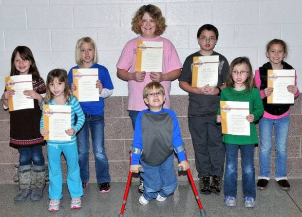 BOMBER COURTESY CLUB … Students at Edon Northwest Local Schools selected for membership into the Bomber Courtesy Club for January 2013 were front row, from left, Megan Matthews, Elliott Mohre, Brianna Fitch and back row, Anastasha Owens, Alexis Dulle, Zoe Maier, John Cooper and Avrey Degryse.  Not pictured ~ Collan Vollmar.  Each student received a special certificate and coupons good for a cookie and ice cream treat from the school cafeteria.