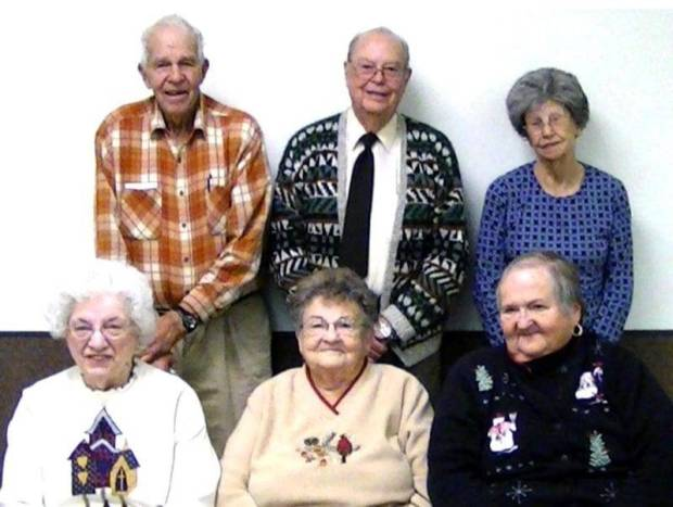 BIRTHDAYS ... The West Unity Senior Center held its monthly birthday celebration Friday January 11.  Celebrating birthdays are, from left, (front row) Betty Renard, Helen Wheeler, Ruth Smethurst, (back row) Lou Mollett, Pastor Joe Redmond, and Louise Anderson.