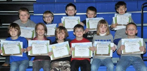 FIRST GRADE BUG AWARDS … First Graders honored for bringing up their grades during the 2012-2013 Second Nine Week Grading Period in Mrs. Hall's and Mrs. Thiel's classes were: Front Row (L-R) ~ Alyssa Adams, Shaylee Arnold, Tresten Burlew, Caleb Derico, Savannah Hartman and John Goebel.  Back Row (R-L) ~ Clayton Dulle, Elliott Mohre, Skylar Osborn, Lance Reitzel and Tyler Stover.