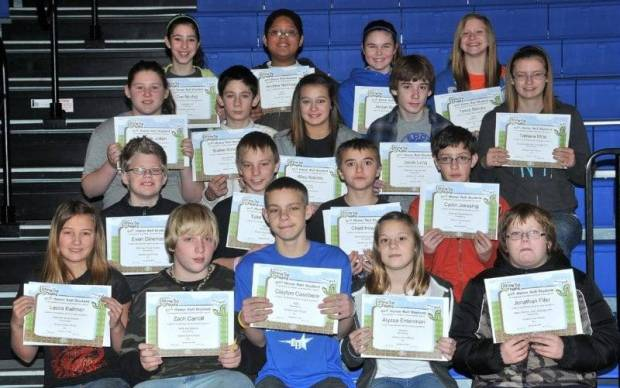 SIXTH GRADE BUG AWARDS … Sixth Graders honored for bringing up their grades during the 2012-2013 Second Nine Week Grading Period in Mrs. Kepler's and Mrs. Taylor's classes were:  First Row (L-R) ~ Leora Ballmer, Zach Carroll, Clayton Casebere, Alyssa Entenman and Jonathan Fifer.  Second Row ~ Evan Gineman, Tylor Hartman, Chad Howard and Cadin Jaessing.  Third Row (L-R) ~ Tammie Julian, Blaine Kimball, Riley Kokinis, Jacob Long and Tamara Mills.  Fourth Row (L-R) ~ Zoe Neubig, Andrew Northrup, Jordan Runyan and Tessa Steinke.