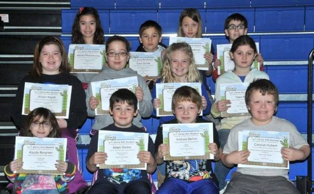 THIRD GRADE BUG AWARDS … Third Graders honored for bringing up their grades during the 2012-2013 Second Nine Week Grading Period in Mrs. Gensler's and Miss Johnson's classes were:  Front Row (L-R) ~ Kayda Bergman, Adam Derico, Andrew Derico and Cassius Hulbert.  Middle Row (L-R) ~ Allison Kaylor, Ashley Kaylor, Carlie Kiess and Tiara Mills.  Top Row (L-R) ~ Nikkie Phutseevong, Zack Sprow, Tatum Workman and Thomas Wehrenberg.