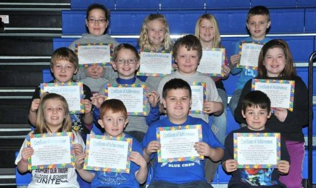 "SECOND AND THIRD GRADE AWESOME ACHIEVERS … Edon Northwest Elementary Second and Third Grade students honored as ""Awesome Achievers"" for receiving all 4s or all 4s and 5s during the 2012-2013 Second Nine Week Grading Period were, front row, from left ~ second graders Hannah Kennedy, Caden Nester and third graders Jayden Craven, Adam Derico.  Middle Row, third graders from left ~ Andrew Derico, Drew Gallehue, Cassius Hulbert and Allison Kaylor.  Top Row, third graders from left ~ Ashley Kaylor, Carlie Kiess, Olivia Mitchell and Ethan Steinke."