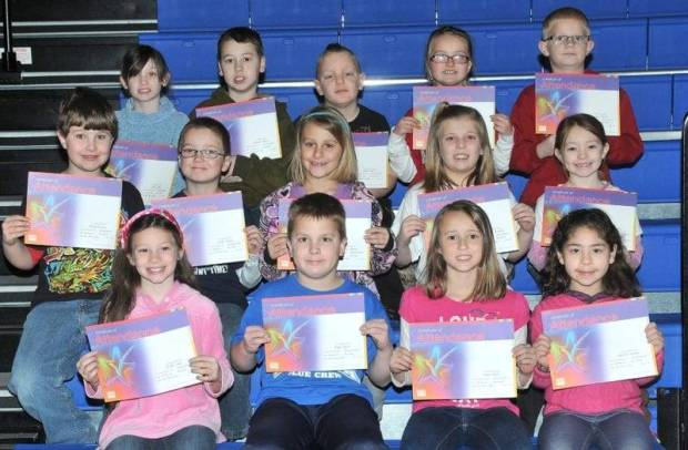 SECOND GRADE PERFECT ATTENDANCE … Edon Northwest Elementary Second Grade Students honored for Perfect Attendance during the 2012-2013 Second Nine Week Grading Period were: Front Row (L-R) ~ Shelby Cope, Blake Dulle, Jenna Dulle and Desiree Dunkle. Middle Row (L-R) ~ David Eitniear, Austin Farris, Courtney Heinze, Hannah Kennedy and Ivy Lash. Top Row (L-R) ~ Tehya Mills, Konnor Prince, Ethan Riter, MacKenzie Spangler and Connor Towers.  Not pictured ~ Levi Favourite.