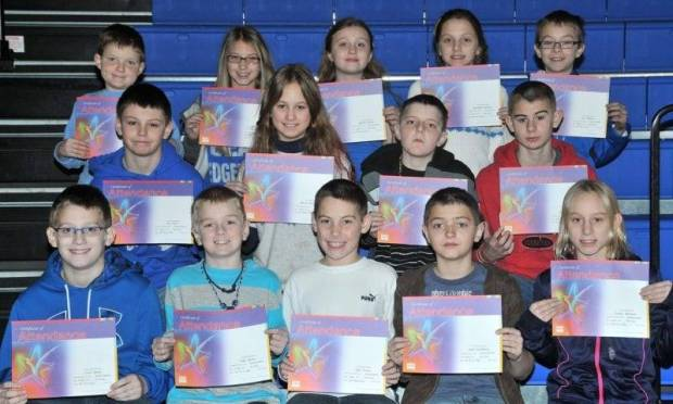FOURTH GRADE PERFECT ATTENDANCE … Edon Northwest Elementary Fourth Grade Students honored for Perfect Attendance during the 2012-2013 Second Nine Week Grading Period were:  Front Row (L-R) ~ Casey Bonar, Gage Eicher, Tyler Farris, Isiah Geiselman and Trystin Hartman.  Middle Row (L-R) ~ Alex Herr, Alyssa Lautzenhiser, Taj Mitchell and Zach Muehlfeld.  Top Row (L-R) ~ Hayden Price, Brianna Rhoden, Jasmine Richter, Samantha Ridgway and Trey Whitney.  Not pictured ~ Kendall Hantz.