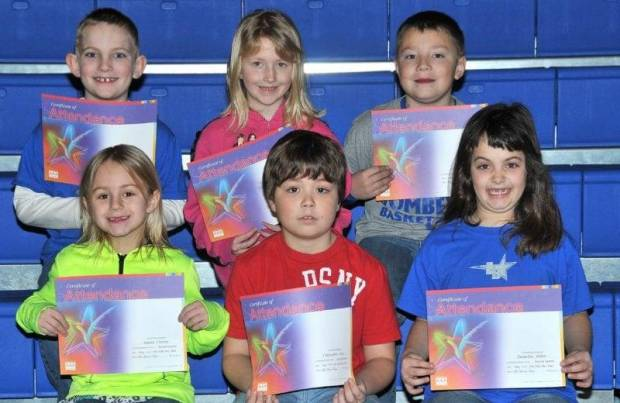 FIRST GRADE PERFECT ATTENDANCE … Edon Northwest Elementary First Grade Students honored for Perfect Attendance during the 2012-2013 Second Nine Week Grading Period were:  Front Row (L-R) ~    Jaycea Craven, Christopher Joice and Emmeline Miller.  Back Row (L-R) ~ Kole Olds, Taylor Pack and Jarrett Trausch.