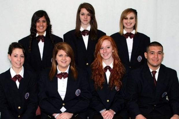 Four County Career Center's new Health Occupation Students of America (HOSA) Chapter members include over ninety Health Careers and Sports Fitness & Exercise Science students. These students work on chapter projects, compete in district, state, and national leadership and skill competitions, and sponsor student assemblies throughout the school year. Officers of the Four County Career Center HOSA Chapter include (FRONT - LEFT TO RIGHT) President - Brooke Betz, Health Careers (Pettisville); Vice-President - Chelsey Geis, Health Careers (Delta); Secretary - Allison Buttermore, Sports Fitness & Exercise Science (Fairview); Treasurer - Travis Jaramillo, Health Careers (Archbold); (BACK - LEFT TO RIGHT) Historian - Veronica Valdez, Sports Fitness & Exercise Science (Holgate); Reporter - Kari Oberlin, Health Careers (Stryker); and Parliamentarian - Courtney Imm, Health Careers (Edgerton). Career Center Advisors include Robin Hill, Health Careers; Karen Walker, Health Careers; Donna Badenhop, Health Careers; and Mike Nye, Sports Fitness & Exercise Science.