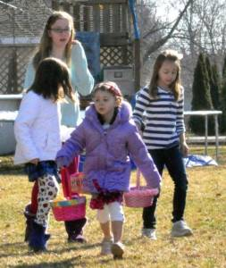 Teaghan Blad, Paige Blad, Myranda Streng, and Ema Heckel venture off to gather eggs.