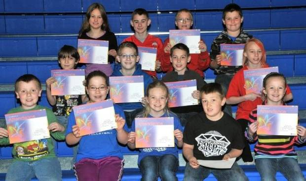 THIRD AND FOURTH GRADE PERFECT ATTENDANCE … Edon Northwest Elementary Third and Fourth Grade Students honored for Perfect Attendance during the 2012-2013 Third Nine Week Grading Period were:  Front row, from left, third graders Terran Dunbar, Ashley Kaylor, Carlie Kiess, Lane Reitzel and Kerrin Towers.  Middle row, from left, third grader Gage Winebernner and fourth graders Casey Bonar, Tyler Farris and Trystin Hartman.  Top row, from left, fourth graders Alyssa Lautzenhiser, Zachary Muehlfeld, Cody Speicher and Tanner Stickney.  Not pictured ~ Tiara Mills (third grade).