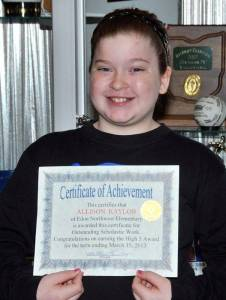HIGH FIVES RECIPIENT … Honored for receiving all 5s during the 2012-2013 Third Nine Week Grading Period at Edon Northwest Elementary School was third grader Allison Kaylor.