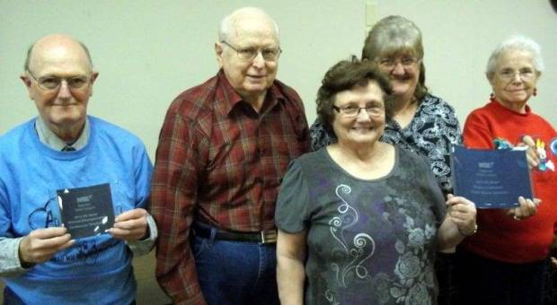 The Lickedy Splits are Regional Champs in Wii bowling. Congratulations to (From left to right): Jim Martin, Red Allman, Linda Wheeler, Judy Miller, and Eunice Miller.