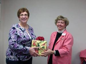 GUEST SPEAKER ... Bev Shaver, left, from Alternative Pathways Therapeutic Massage in Bryan, served as guest speaker for the regular meeting Monday, Nov. 11th of CHWC-Montpelier Hospital Auxiliary. She is pictured with Armeda Sawmiller, program committee member, who presented her with an appreciation gift. Ms. Shaver was the guest of Ruth Smethurst who was unable to be present that day.