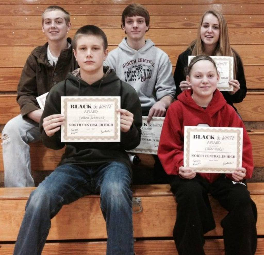 Junior high Black and White Award winners ... 1st row - Colton Schmunk and Chloe Baker. 2nd row - Honorable, Mention Ryan Taylor with winners Cody Tomblin and Brookelynn Brown.