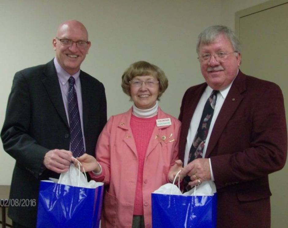 Montpelier Area Foundation was the topic for the Feb. 8th meeting of CHWC-Montpelier Hospital Auxiliary in the hospital conference room. Guest speakers were Jim Thompson, right, president of the Montpelier Area Foundation, and Jack Brace, left, representing Bryan Area Foundation. They are pictured receiving appreciation gifts on behalf of the auxiliary from Armeda Sawmiller, center, Auxiliary Vice President and program committee member.