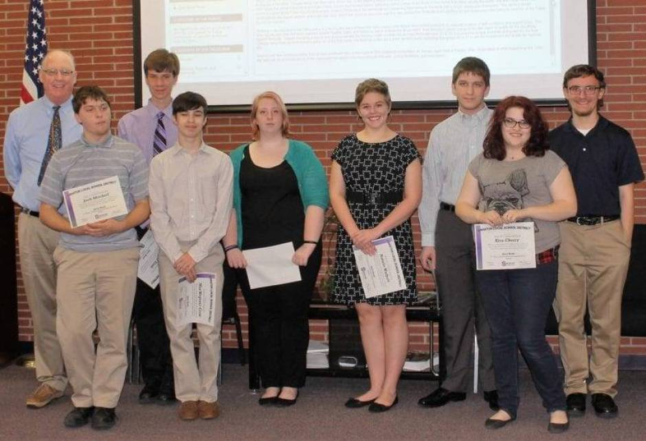 Swanton Quiz Bowl Team: Left to Right: Front Row: Josh Mitchell, Max Wegener-Crow, Crystal McEwan, Natalie Walbolt, Kira Cherry. Back Row: President Steve Brehmer, Eric Slink, Jarret Macek, Austin Hill.