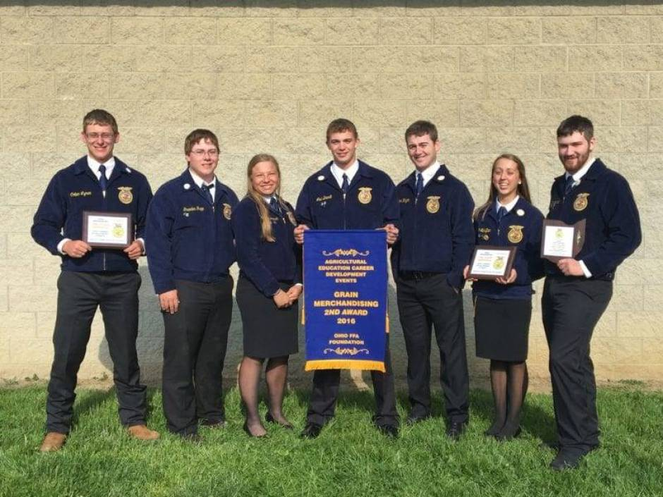 Edon FFA's Grain Merchandising Team took home 2nd place in the state. Team members from left are: Colten Lyman, Graeden Rupp, Samantha Trausch, Levi Brandt, Preston Klingler, Paige Schaffter, Jordan Winebernner, and Eliza Zulch (not pictured).