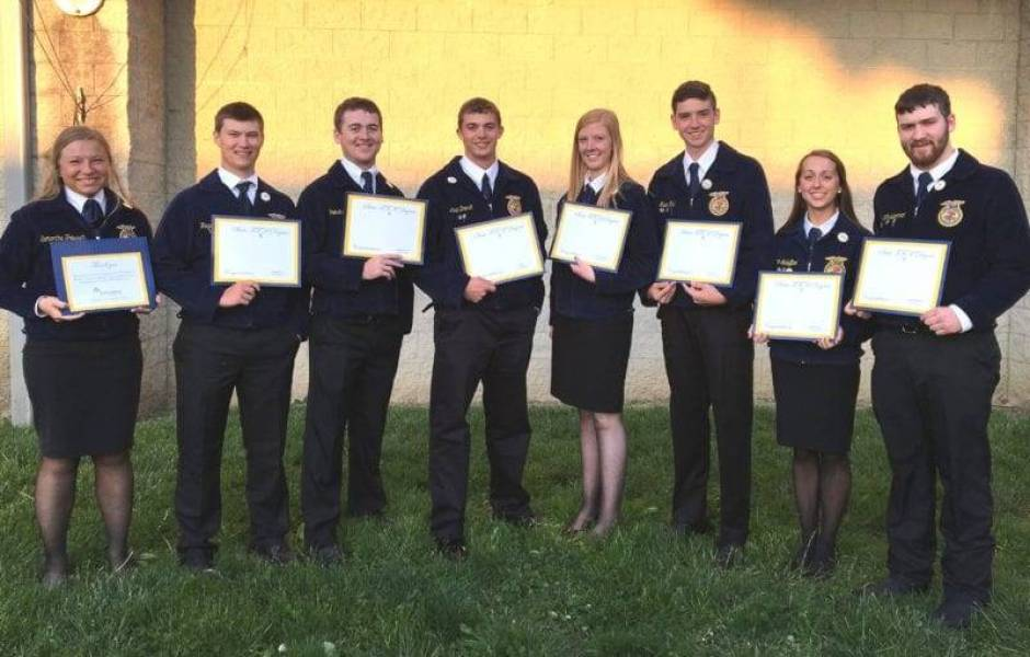 Setting a new chapter record, eight Edon FFA members received their State FFA Degrees at this year's convention. Recipients from left were: Samantha Trausch, Hayden Runyan, Preston Klingler, Levi Brandt, Carley Muehlfeld, Evan Fisk, Paige Schaffter and Jordan Winebernner.