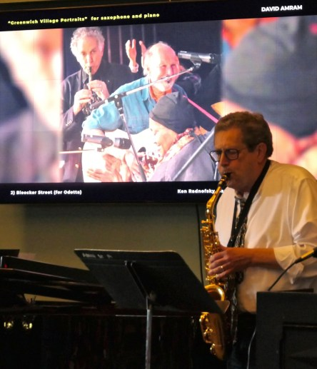Ken Radnovsky (with pianist Yoshiko Klein) gives the premiere performance of David Amram's arrangement of his Greenwich Village Portraits