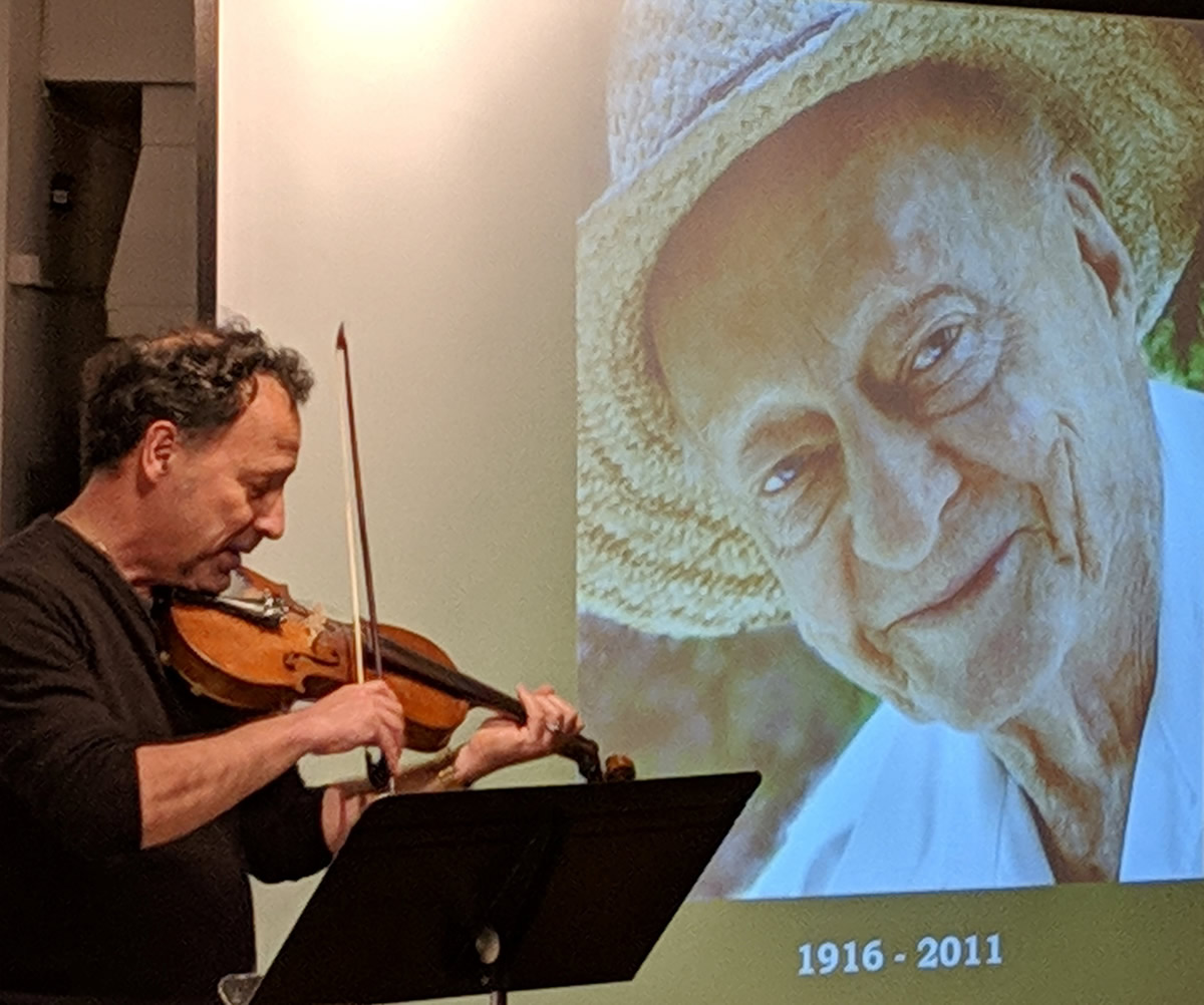 Will Kaufman and an image of Stetson Kennedy, folklorist and human rights activist